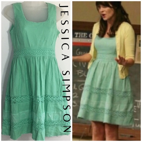 Jessica Simpson Dresses & Skirts - Jessica Simpson Crochet Mint fit flare dress 6